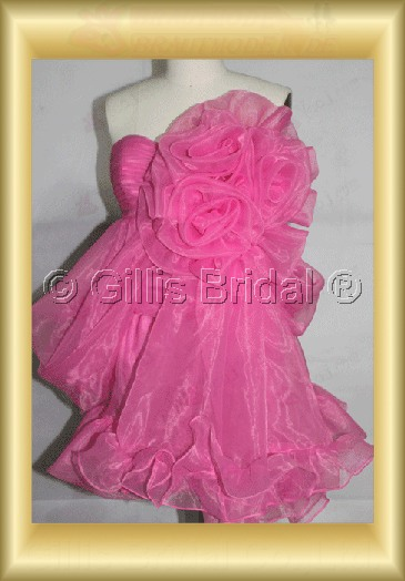 bridesmaid Homecoming Quinceanera Knee length pleated ruffle Fold Handcraft flowers Handmade Flower Exquisite 100442
