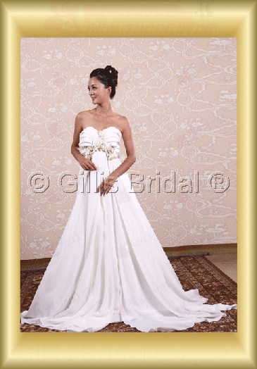wedding dress bridal gown Strapless pleated ruffle Fold Sweep Brush Exquisite 100673