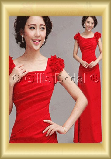 Chiffon pleated ruffle Fold Flower Off-the-shoulder Floor-length A-line Exquisite 3552